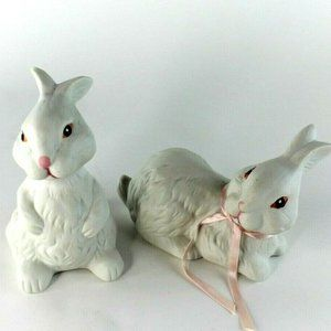 Vtg White Porcelain Bisque Easter Bunny Rabbits